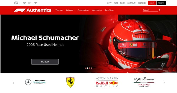 F1Authentics.com screenshot